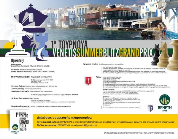 2ο TΟΥΡΝΟΥΑ Summer Grand Prix Blitz by Venetis
